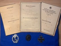 WW2 grouping of German Awards/Iron Cross, Wound and Infantry Badges in Stuttgart, GE