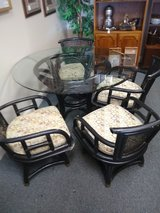 Rattan Glass Top Table and 4 Chairs in Naperville, Illinois