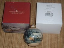 Thomas Kinkade Painter of Light Christmas Ornament Limited Edition Snowy Cottages in Plainfield, Illinois