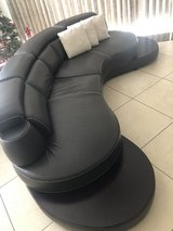 Curved Leather Couch in Okinawa, Japan
