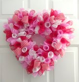 Valentine's Day Heart in Red, White and Pink Curl Mesh in Camp Lejeune, North Carolina