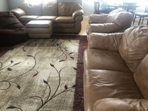 Leather couches and ottoman in Miramar, California