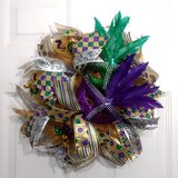 Mardi Gras Fat Tuesday Wreath with Masks and Lots of Ribbon in Camp Lejeune, North Carolina