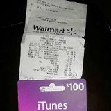 iTunes card with receipt in Bellaire, Texas