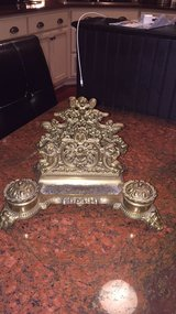 solid brass vintage letter holder/double ink well/pen tray in great shape-heavy item in Beaufort, South Carolina