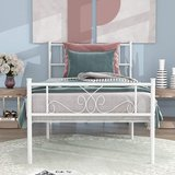 Twin Size White Metal Platform Bed Frame - New! in Naperville, Illinois
