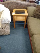 Light Wood Glass Top Side Table in Naperville, Illinois