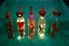 Large lighted Valentines Day wine bottle in Schaumburg, Illinois