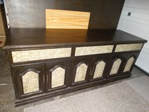 Custom Philippine Mahogany Wall Unit with Hand Carved Inlays in Alamogordo, New Mexico