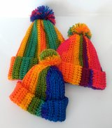 Crocheted Rainbow Beanie Hat with Pom for Adult, Baby or Toddler/Child in Camp Lejeune, North Carolina
