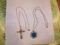 Silver Tone & Turquoise Color Necklace Plus Holy Trinity Necklace $5 each in Chicago, Illinois