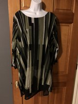 Alfani Green Striped Sheer Tunic Top with Black Lining - 2X in Chicago, Illinois