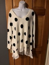 White V Neck Women's Sweater with Black Dots and Ruffled Bottom - 2X in Chicago, Illinois