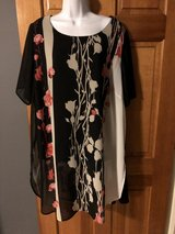 Alfani Black/Pink/Beige Sheer Tunic with Black Lining - 2X in Chicago, Illinois