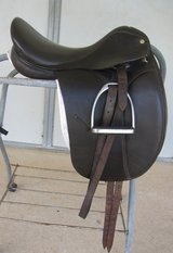 Dark Brown Leather Collegiate Dressage Saddle, Pads & Stand in Conroe, Texas