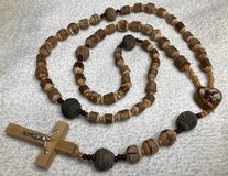 Catholic Rosary Tree with Bark Beads Browns Vintage S American Tribal Terra Cotta Clay Beads Woo... in Kingwood, Texas