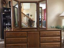 Bedroom Dresser with Tri Mirror and Queen/King Head Board in Plainfield, Illinois