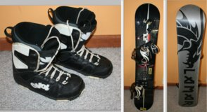 Snowboard and boots in Oswego, Illinois