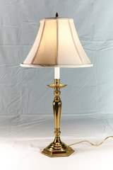 Vintage, Solid Brass Table Lamp with Original Shade in Oswego, Illinois