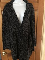 Style & Co Black & Gray Print Long Cardigan with Button Front - 2X in Wheaton, Illinois
