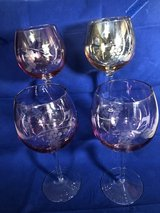 4 Pastel Balloon Wine Glasses Etched Grape Motif in Orland Park, Illinois