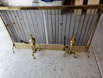 """Large Brass fireplace cover screen with 2 andirons 53"""" long by 30"""" height in Bolingbrook, Illinois"""