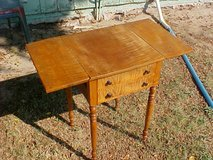 19th Century Tiger Maple 2 Drawer Dropleaf Side Table Ready for Restoration in Yuma, Arizona