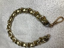Anklet Bracelet Vintage Gold Leather Strip Wove Through Gold Chain Swivel Clasp Large in Kingwood, Texas