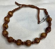 Rosary Bracelet Catholic Olivewood Beads Adjustable Brown Silver Crucifix Lightweight in Kingwood, Texas