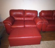 Red Leather Couch/ love seat and Ottoman in Warner Robins, Georgia