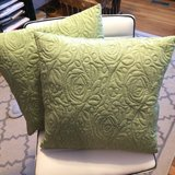 2 NEW COMPLETE PILLOWS - LIGHT GREEN QUILTED FABRIC - 18 x 18 INCHES in Yorkville, Illinois