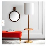 Janell 65 in. Brown Wood Floor Lamp with Attached End Table and White Shade in Beaufort, South Carolina