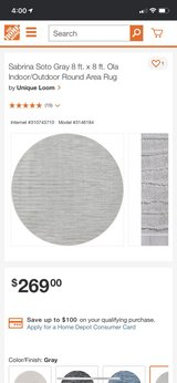 Sabrina Soto Gray 8 ft. x 8 ft. Ola Indoor/Outdoor Round Area Rug by Unique Loom in Beaufort, South Carolina