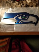 Seahawks metal art in Fort Lewis, Washington