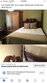 Queen Four poster bed w/mattresses in Moody AFB, Georgia