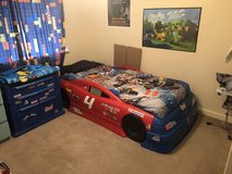 Children's Twin Bed Race Car and nightstand & toy chest in Lakenheath, UK