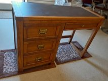 Wood Desk with leather top in Camp Lejeune, North Carolina
