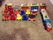 lot of 4 wooden trains in The Woodlands, Texas