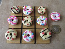 Handmade polymer clay Noughts and Crosses / Tic Tac Toe..Donuts in Lakenheath, UK