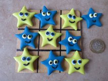 Handmade polymer clay Noughts and Crosses / Tic Tac Toe.. STARS in Lakenheath, UK