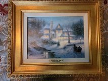"""Thomas Kinkade Painting """"Moonlit Sleigh Ride"""""""" in The Woodlands, Texas"""