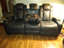 Leather couch with charger outlets in Chicago, Illinois