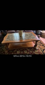 3pc wooden granite top coffee table and side tables. in Naperville, Illinois