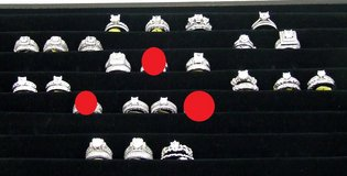 Wedding Ring Sets Sterling Silver with Rhodium Plating Assorted Selection in Glendale Heights, Illinois