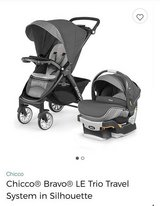 **New** Chicco Bravo LE Trio Travel System in Silhouette (Stroller and Carseat) in Lackland AFB, Texas