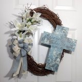Grapevine Easter Wreath with Lilies and Wooden Cross in Camp Lejeune, North Carolina