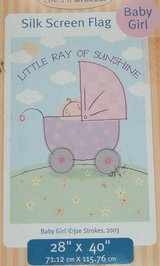 """NEW Lifes A Breeze Little Ray of Sunshine Baby Girl Silk Screen Flag 28"""" x 40"""" in Joliet, Illinois"""
