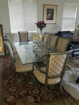 Gorgeous Formal Glass Top Dining Set w/8 Upholstered Chairs in Sacramento, California