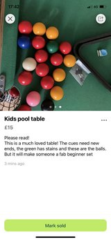 Pool table in Lakenheath, UK