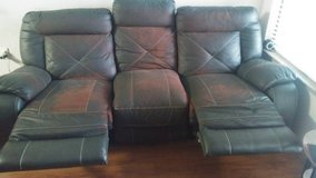 3 seat leather cushion sofa recliner in Denton, Texas